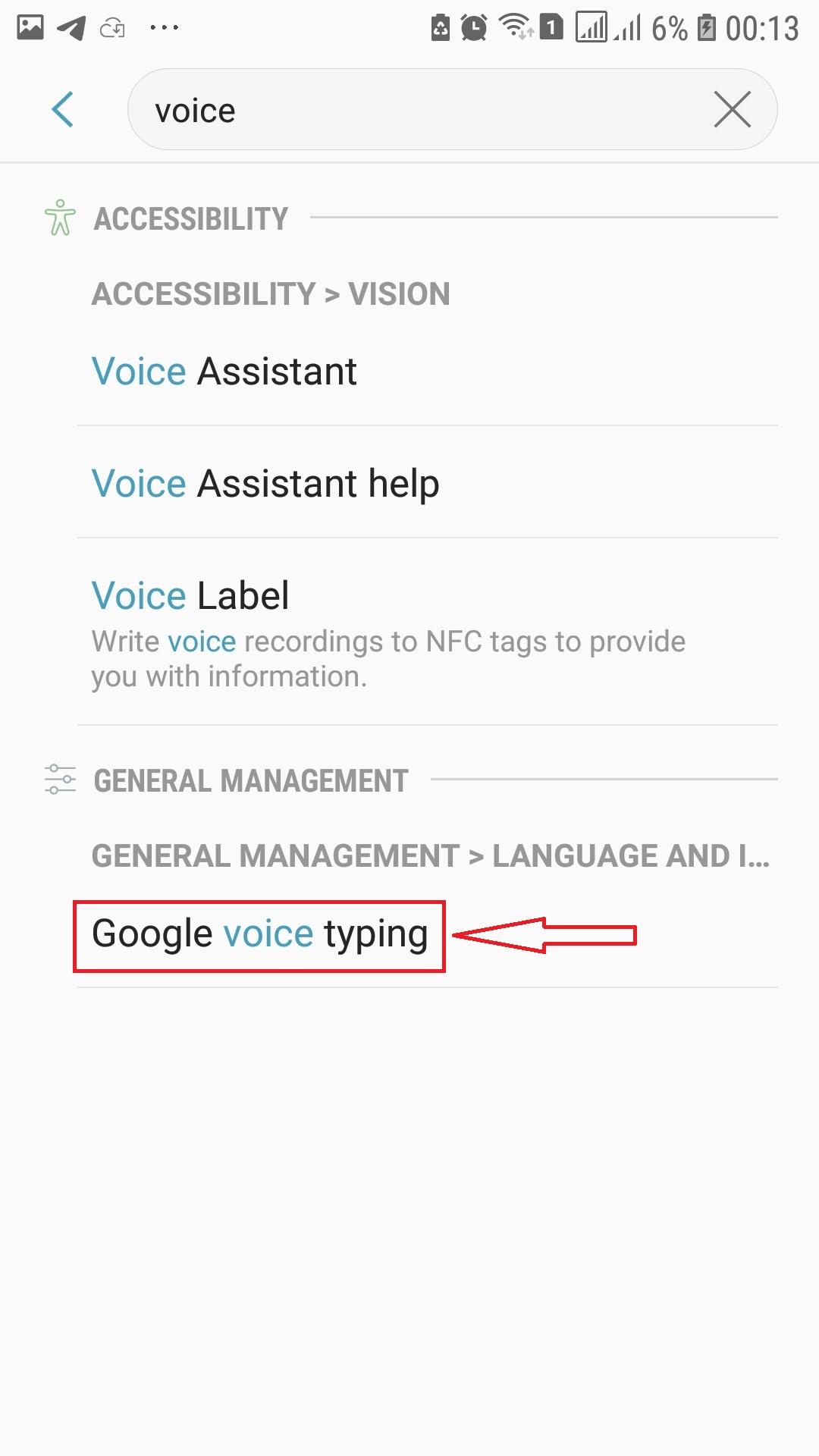 جستجوی voice typing